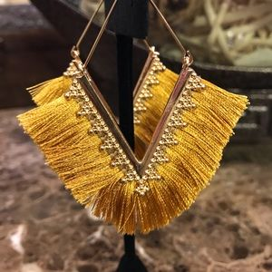 Mustard Yellow and Gold Tassel Earrings